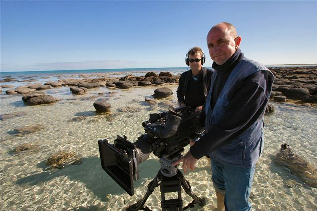 With sound mixer Steve Trowbridge in Western Australia