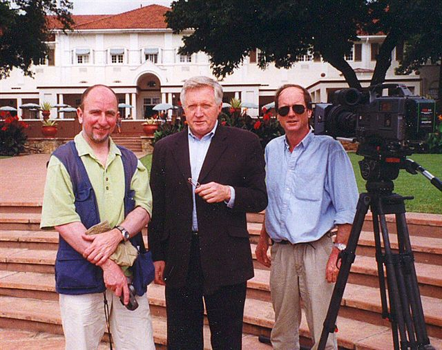 With David Dimbleby and sound mixer Bob Withey in Zimbabwe